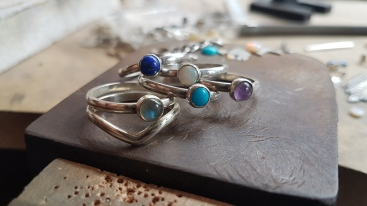 10 Turquoise, opal, lapis lazuli, amethyst, labradorite and sterling silver