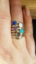 11 Turquoise, opal, lapis lazuli, amethyst, labradorite and sterling silver