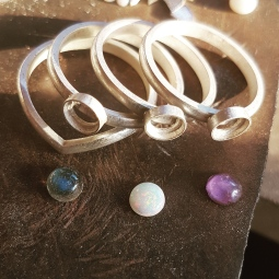 8 labradorite, opal, amethyst and sterling silver