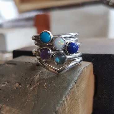 9. Turquoise, opal, lapis lazuli, amethyst, labradorite and sterling silver