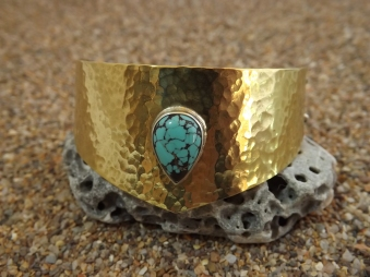 Brass and Chinese turquoise bracelet