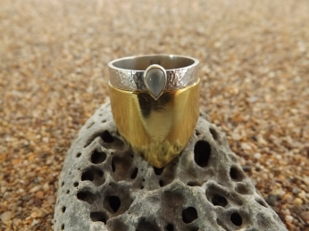 Brass and silver moonstone stack rings set