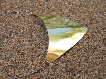 Brass plate necklace on silver chain