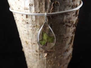 Ivy Leaf In Resin On Silver Chain