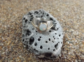 Sterling silver, gold and opal ring