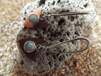 Copper and opal hook earrings