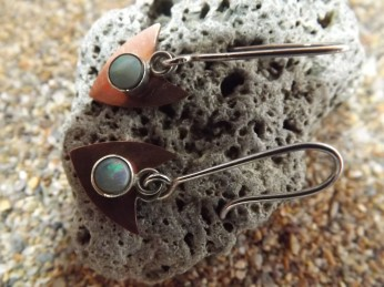 Copper and opal hook earrings