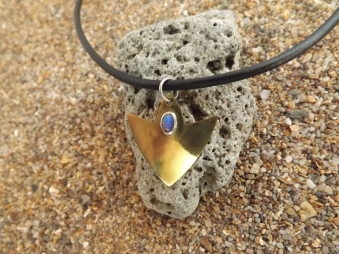 Brass arrow with oval opal on leather necklace