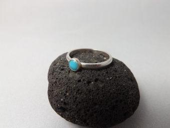 Turquoise Hand Set Onto Sterling Silver