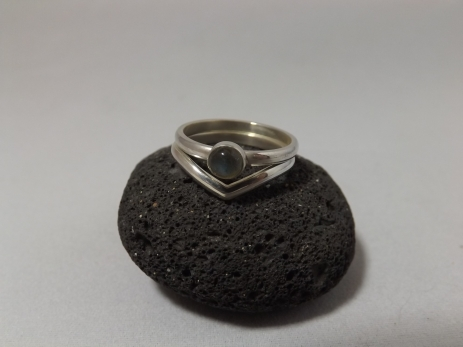 Labradorite and Sterling Silver 'V' Shaped Stack Rings