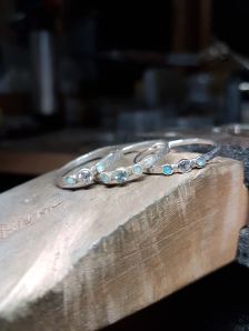 Little delicate topaz, opal and sterling silver rings. Made to order, ring size and gemstones colour and size are chosen by client.